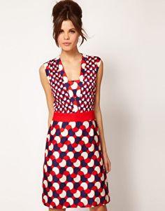 Love!! Milly Sleeveless Silk Dress In Geo Print