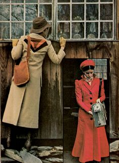 Co-ed Magazine, February 1971 vintage fashions style 70s coat red tan long princess puff sleeves trench winter black graphic design