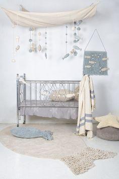 Sea Sky design by Lorena Canals Ocean Nursery, Nursery Room, Kids Bedroom, Nursery Decor, Wall Decor, Nursery Ideas, Ikea Baby Room, Church Nursery, White Nursery