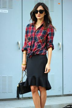 Plaid + Ruffle Hem  Plaid is OK but I LOVE the Ruffled Hem, slightly longer in the back. Very Classy but yet casual too!!