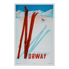 Vintage Train Travel Posters Vintage Travel Poster - Ireland Norway vintage travel poster validate your travels with replicated vintage trav. Vintage Ski Posters, Retro Poster, Poster S, Poster Prints, Art Prints, Party Vintage, Vintage Ads, Illustrations Vintage, Norway Travel