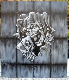 Jester Skull Mural Skull Tattoo Design, Skull Tattoos, Body Art Tattoos, Tatoos, Tattoo Designs, Wicked Jester, Evil Jester, Joker Drawings, Tattoo Drawings
