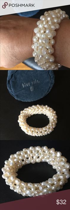 "Blue Nile Pearl Bracelet - New 🎈 Fresh water pearl stretch bracelet. Measures 10"" circumference on the outside and height is approximately 1 1/4"". This Bracelet is in very good condition as it was only worn 1-2 times and stored it is jewelry bag.  It fits my 7 1/2 wrist and only has a little stretch to put on otherwise it's very in tact and no other looseness in band. Blue Nile Jewelry Bracelets"