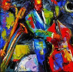 Jazz pintura pinturas de arte de música por Debra Hurd, pintura original del artista Debra Hurd