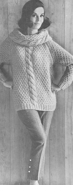 Vintage 1960s Cable Cowl Neck Sweater Knitting Pattern PDF