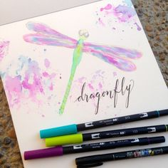 @kellycreates @tombowusa #watercolor #dragonfly #tombow Tombow Markers, Brush Pen Art, Watercolor Brush Pen, Tombow Dual Brush Pen, Watercolor Cards, Watercolor Background, Brush Markers, Watercolour Painting, Watercolor Pictures