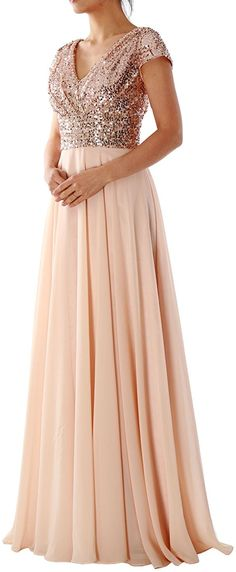 MACloth Cap Sleeve V Neck Sequin Chiffon Bridesmaid Dress Formal Evening Gown (0, Rose Gold) at Amazon Women's Clothing store: