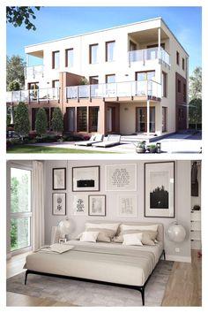 Als #Doppelhaus konzipiert ist dieser Entwurf das ideale Haus für alle, die gute Nachbarschaft ebenso wie die Rückzugsmöglichkeiten der eigenen vier Wände zu schätzen wissen. Das clevere Grundrisskonzept ermöglicht euch dabei die optimale Ausnutzung von begrenzten Grundstücksflächen. Als Typ XL entsteht mit drei Geschossen ein klassisches Doppelhaus mit attraktiver #Architektur und komfortablem Wohnen für alle, die noch etwas mehr Platz benötigen. Style At Home, Living Haus, Mansions, House Styles, Home Decor, Luxury Villa, Mockup, Villas, Winter Garden