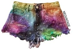 Designer Clothes, Shoes & Bags for Women High Waisted Ripped Shorts, Distressed High Waisted Shorts, Waisted Denim, Loose Shorts, Ripped Denim, Dark Denim, Galaxy Shorts, Rainbow Galaxy, Tie And Dye