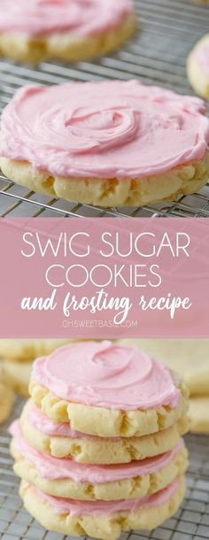 A photo of several sugar cookies with pink frosting centered on one cookie in the middle. All the cookies are sitting on a cooling rack. Utah's favorite Swig Sugar Cookies recipe with a creamy frosting! Cookie Frosting Recipe, Frosting Recipes, Cookie Recipes, Dessert Recipes, Desserts, Pink Sugar Cookie Recipe, Sugar Cookies With Frosting, Swig Sugar Cookies, Pink Cookies