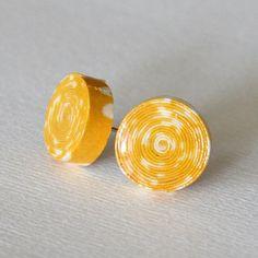 Yellow paper earrings