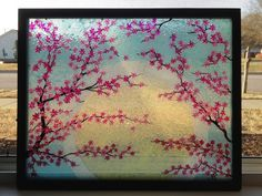 Cherry Blossoms painted on glass stained by Glasspaintingsparky, $100.00