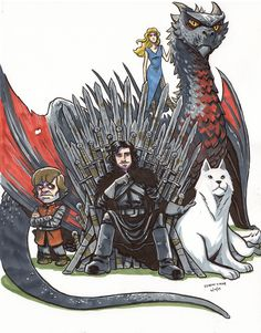 Here is a Game of Thrones commission I finished yesterday.-------------------------------- Jon Snow, Ghost, tyrion lannister, daenerys targaryen, Drogon
