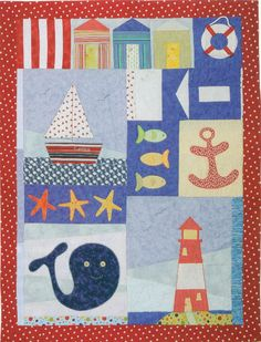 Patchwork and applique child nautical quilt - KIT with pattern and fabric // ONLY 1 LEFT Quilt Baby, Nautical Baby Quilt, Ocean Quilt, Beach Quilt, Colchas Quilting, Quilting Ideas, Boys Quilt Patterns, Applique Quilts, Quilt Tutorials