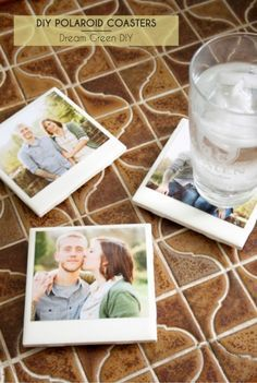 Polaroid Photo Coasters made with old pics, porcelain tile, and Modge Podge. #herbnu