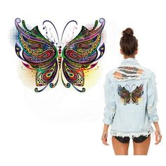 Large Mosaic Butterfly Patch Iron On Heat Transfer  Patch Applique DI