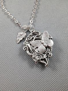 Locket necklace, butterfly locket, silver locket, antique locket, photo locket