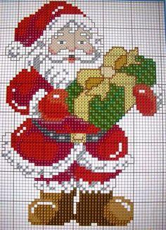 18 Ideas Crochet Flowers Pattern Free Chart For 2019 Santa Cross Stitch, Cross Stitch Charts, Counted Cross Stitch Patterns, Cross Stitch Designs, Cross Stitch Embroidery, Embroidery Patterns, Theme Noel, Crochet Flower Patterns, Crochet Flowers