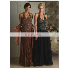 Sheath / Column Halter Sleeveless Floor-length Chiffon Mother of the Bride Dress WPMD-1019