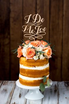 'I Do, Me Too' Cake Topper by BetterOffWed on Etsy
