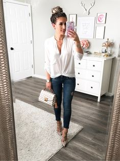 casual chic date night outfit. White tunic, Valentino rockstuds, and louis vuitton croisette.