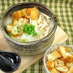 Chicken Congee Cantonese style, where the gruel is creamy and velvety as opposed to the light grainy Teochew version.