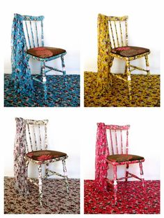 Chairs, with fabrics treated with beautiful colors and designs. Waterproof against household accidents. Prepared and protected against chafing of daily use. Shabby chic - antique - custom hand - recycling art - furniture designs - Facebook: Lenna Custom Designs Art Furniture, Dining Furniture, Furniture Design, Dining Chairs, Shabby Chic Antiques, Fabric Art, Inventions, Custom Design, Recycling