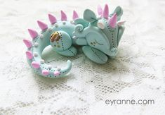 Mint and Pink and White Plushlike Dragon // by PlushlikeCreatures, $22.00