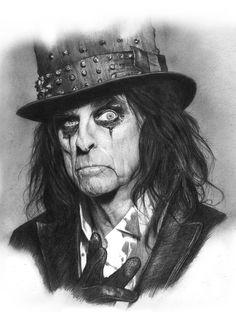 """Alice Cooper"" graphite on Paper Pencil Portrait, Psychedelic Art, Alice Cooper, Pencil Drawings, Creative Artwork, Celebrity Drawings, Rock Art, Caricature, Art Boards"