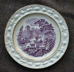 Circa 1930 Aubergine Purple Transferware Plate Cow Goat Pastoral Italian Scenery