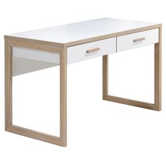 Lifestyles Studio Living Collection Wood Writing Desk White/Oak Finish - Imagio Home