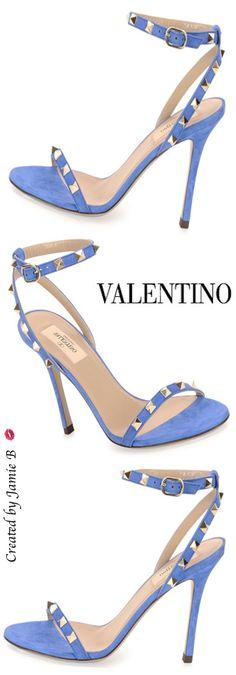Valentino ~ Rockstud Suede Naked Sandal, Light Sapphire Pre Fall 2015
