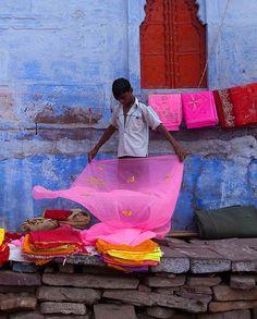 Saree Shop Sidewalk Jodhpur by Claude Renault