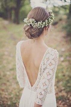Couronne de fleurs fleurs de wax rose de mariée Laure de Sagazan mariage bohème champêtre