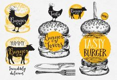 Burgers badges, fast food doodles by BarcelonaShop on @creativemarket