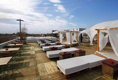 Best Rooftop Bars in Berlin - Thrillist Best Rooftop Bars, Outdoor Furniture Sets, Outdoor Decor, Sun Lounger, Europe, Building, Travel, Home, Drink
