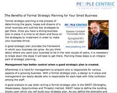 http://www.peopleccg.com/the-benefits-of-formal-strategic-planning-for-your-small-business - People Centric explains the benefits of conducting formal strategic planning for small businesses.