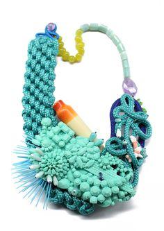 Necklace: SAMOA, 2010 Amazonit, amethyst, coral, turquoise, rope, plastic, siliconerope, plastic, silicone, etc.etc.