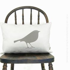 Bird Decorative Pillow - White pillow cover with grey bird and abstract feather pattern back - 12x18 decorative lumbar pillow on Etsy, $56.83 AUD