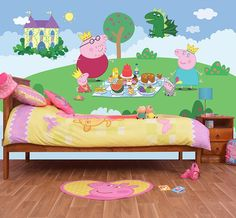 peppa pig wall pigs bed bedroom toddler murals mural
