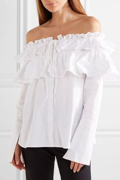 Opening Ceremony - Mercer Ruffled Off-the-shoulder Stretch Cotton-poplin Top - White - US2