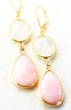 Pink and opal gold earrings.
