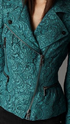 ~~Cropped Lace Biker Jacket in Bright Indigo ...