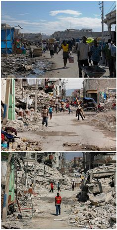 Haiti still needs our help.  A combination photograph shows Haitians walking in a badly damaged street after an earthquake in Port-au-Prince, almost two years later on Dec. 28, 2011 (top), seven months later on Sept. 30, 2010 (middle), and on the bottom Feb. 3, 2010.