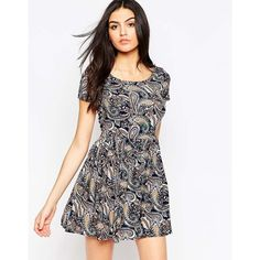 Madam Rage Paisley Printed Skater Dress (29 PAB) ❤ liked on Polyvore featuring dresses, multi, paisley dress, fit and flare dress, white zipper dress, white rayon dress and rayon dress