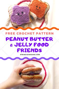 These Peanut Butter & Jelly Friends were made for each other! View the FREE crochet pattern on my site now Crochet Cupcake, Crochet Fruit, Crochet Food, Crochet For Kids, Crochet Baby, Free Crochet, Crochet Roses, Ravelry Crochet, Crochet Birds