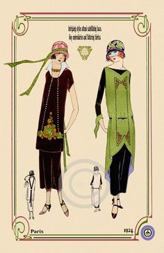 Beautiful Art Deco Fashion Girls in Vintage Dresses Designer Paris with hats Decorative boarder date of 1924 Giclee Fine Art Print 11x17: