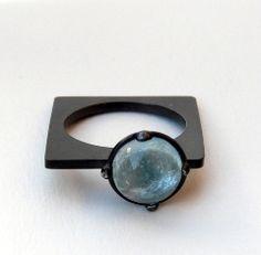So different! Aquamarine & oxidized sterling silver by Senay Akin #jewelry #ring #aquamarine #sterling_silver #blue #round #square #senay_akin
