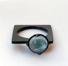 So different! Aquamarine & oxidized sterling silver by Senay Akin #jewelry #ring #aquamarine #sterling_silver #blue #round #square #senay_akin