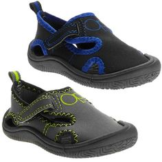 """outstanding OP® Toddler Boys' Water Shoes, Swim Sneakers with Full Sneaker Sole, Black or Grey, Sizes: 6 months to 30 months (4.5"""" to 6.5"""") (7/8 (5.5"""" to 6"""")(18-30mths), Black)"""